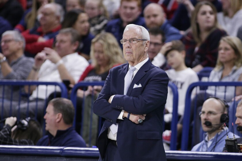 North Carolina head coach Roy Williams looks on during the second half against Gonzaga in Spokane, Wash. on Wednesday.