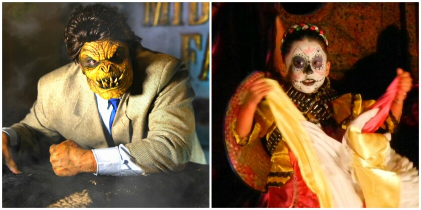 Shown are characters from the 'Los Angeles Haunted Hayride' and 24th Street Theatre's Día de los Muertos celebration.