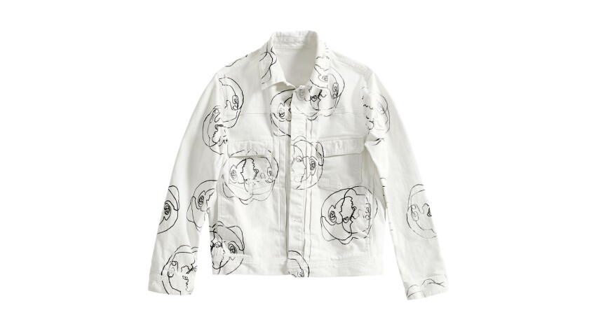 Pieces from AG, including this jacket in collaboration with artist Blanda, use minimal water in the