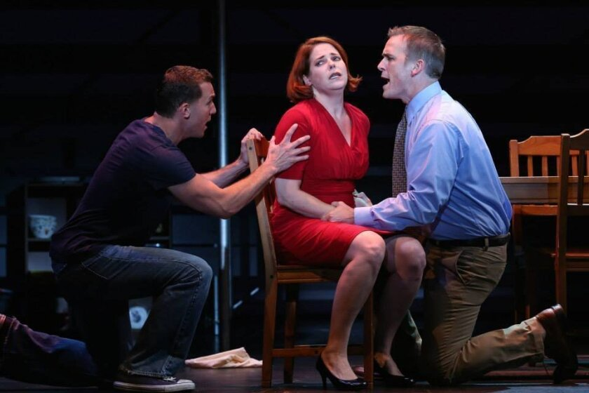"""Eddie Egan, Bets Malone and Robert J. Townsend in San Diego Musical Theatre's production of """"Next to Normal."""" CREDIT: John Howard"""
