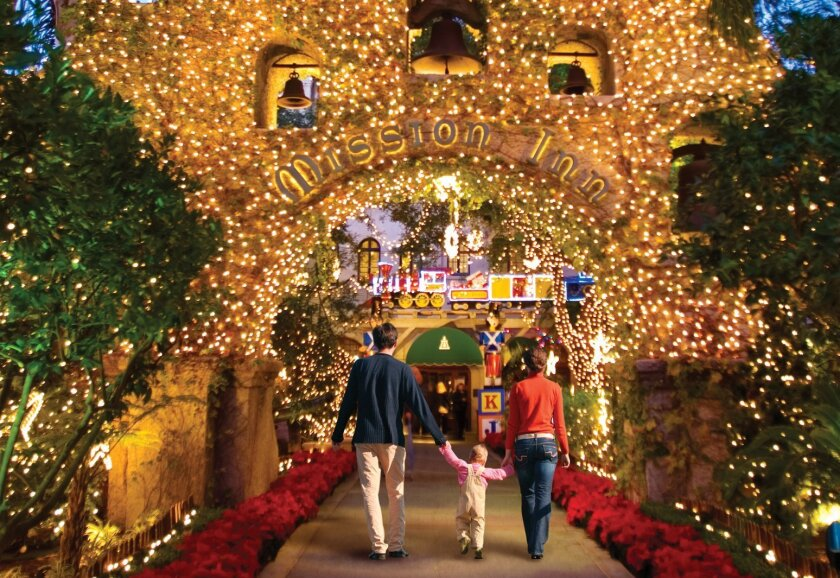 Nearly 4 million lights decorate Riverside's Mission Inn Hotel & Spa during the holiday season.