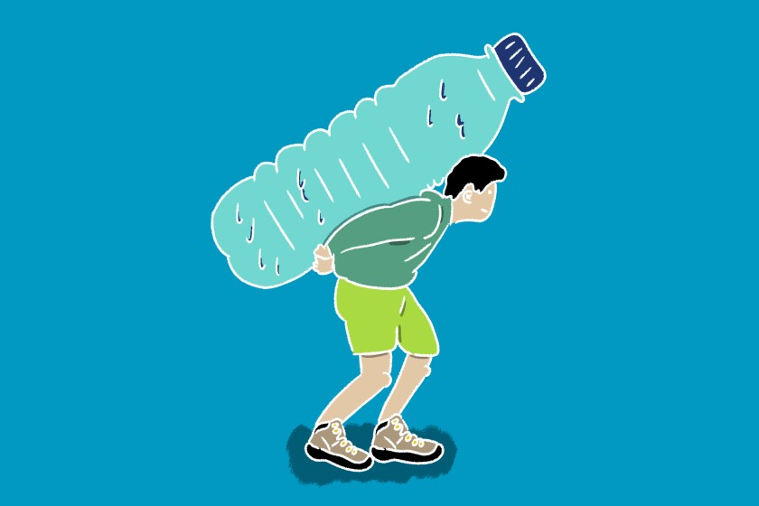 Graphic of a man carrying a large water bottle