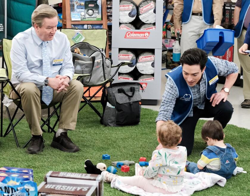 "Mark McKinney, left, and Ben Feldman in ""Superstore"" on NBC."