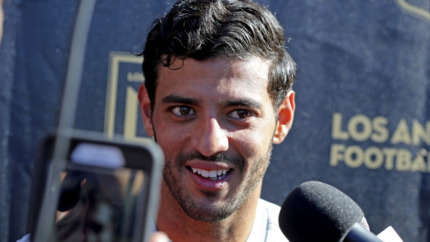 Carlos Vela, talking last month to reporters at training camp, scored a second-half goal for the Los Angeles Football Club against Vancouver on Sunday.
