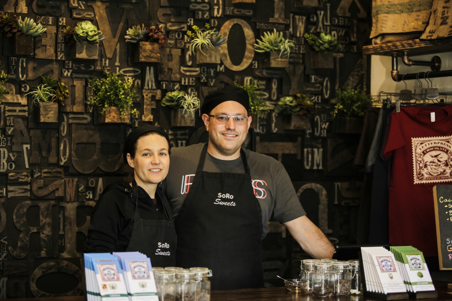 Husband-and-wife team Corey and David Menkes just opened their LetterPress Chocolate retail shop in Los Angeles' Beverlywood neighborhood though they've been making their bars at the Robertson Boulevard location for a while now.