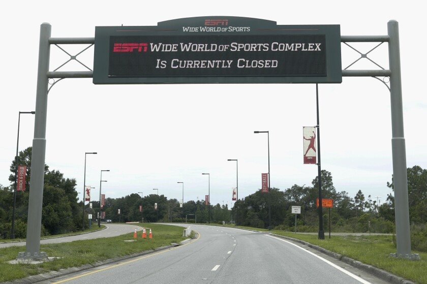 Esta foto del 3 de junio de 2020 muestra la entrada al complejo Wide World of Sports de ESPN en Walt Disney World, en Kissimmeee, Florida (AP Foto/John Raoux)