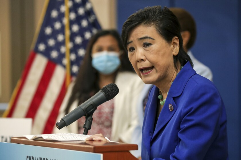 Congresswoman Judy Chu speaks at a news conference in July in Los Angeles.
