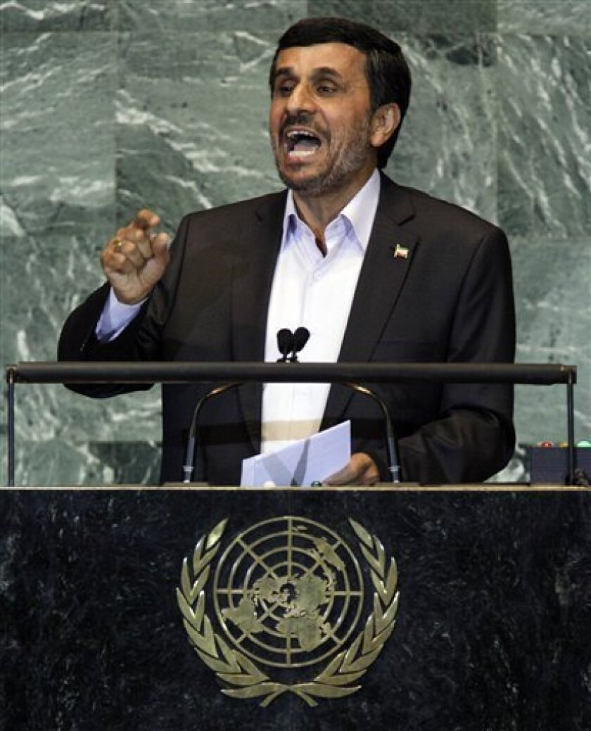 Iran's President Mahmoud Ahmadinejad addresses the 66th session of the United Nations General Assembly, Thursday, Sept. 22, 2011. When Iran's president accused the U.S. at the United Nations General Assembly in 2010 of orchestrating the 9/11 attacks, American diplomats were not caught flat-footed by the tirade. Even before Ahmadinejad finished his incendiary rant, U.S. diplomats marched out in protest and were ready with a written statement condemning his comments. The walkout hinted at one of the well-known but seldom spoken truths about the United Nations: The international organization, which was founded in the name of peace and security, is also a hotbed of spying and clandestine operations. (AP Photo/Richard Drew)