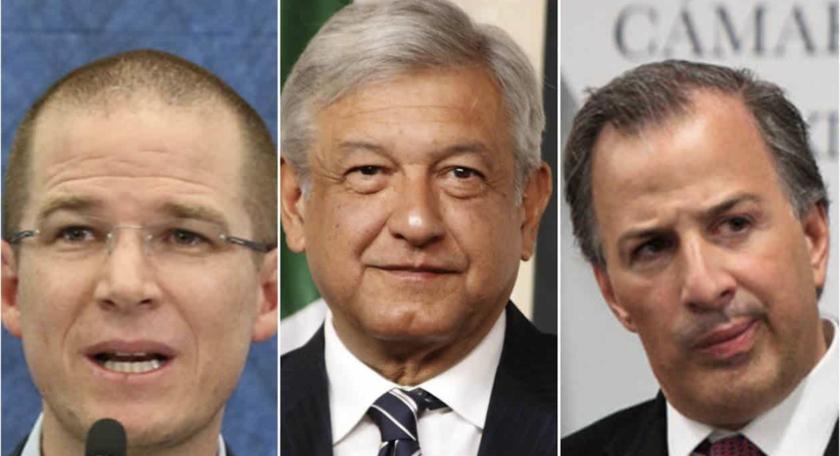 Los aspirantes a la presidencia en México: Ricardo Anaya (i), el favorito Andrés Manuel López Obrador (c) y José Antonio Meade (d).