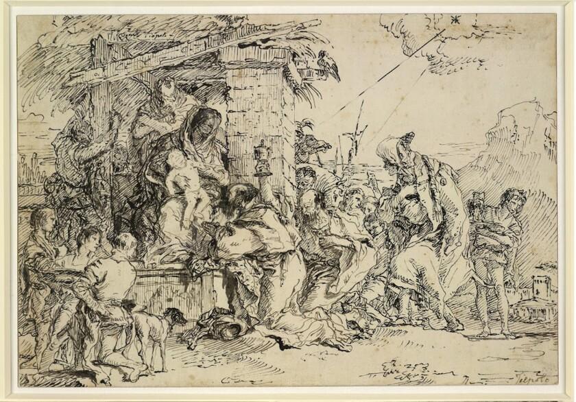 "Giovanni Domenico Tiepolo, ""The Adoration of the Magi,"" ca. 1760. Pen and gray and black ink."