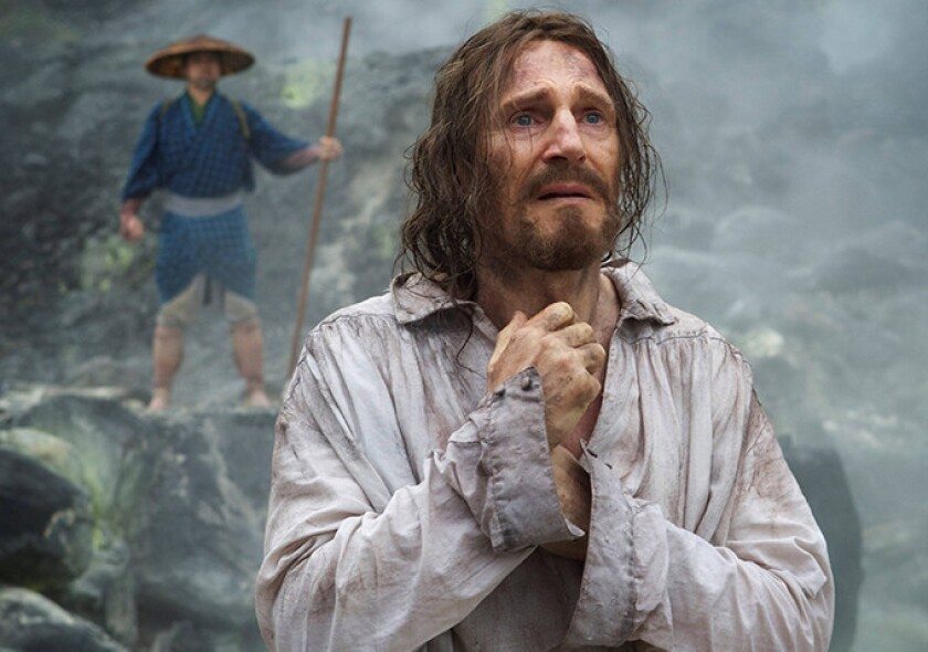"""Liam Neeson in Martin Scorsese's """"Silence,"""" an exploration of big ideas cleverly wrapped in atmospheric minimalism."""