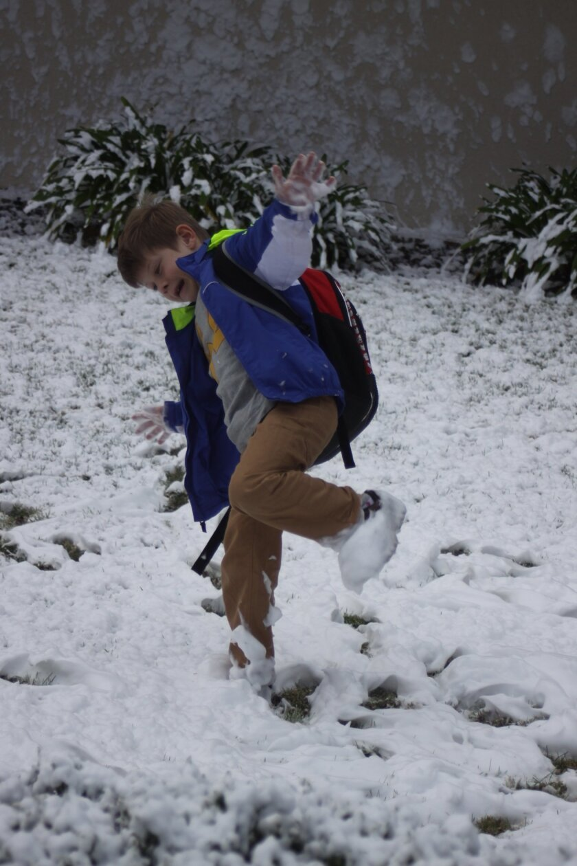 Patrick Fitzmaurice stomps through the snow.