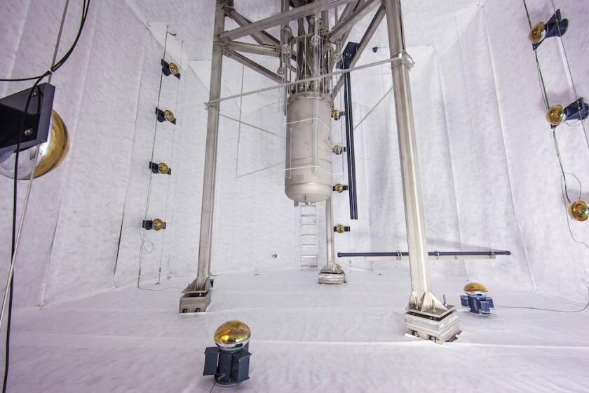 The LUX detector, pictured here during installation, has not found signs of dark matter, scientists said.