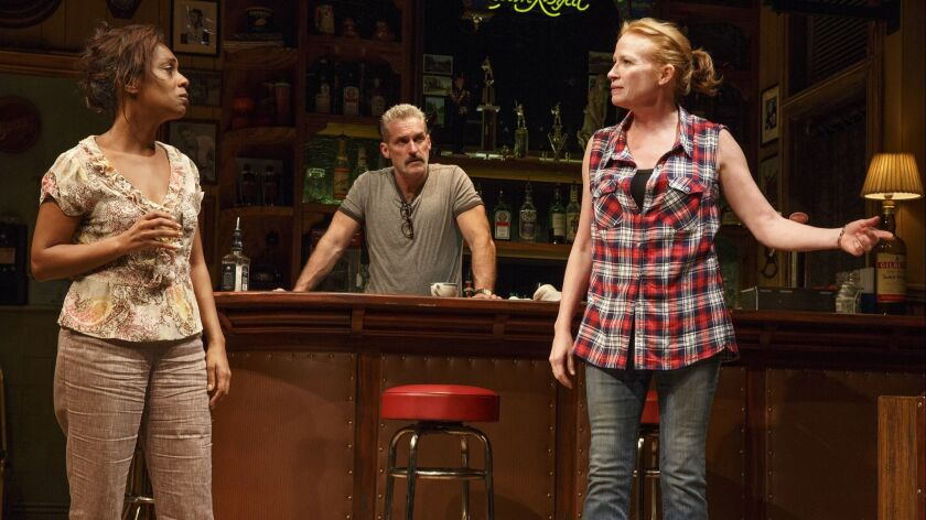 Sweat Public Theater Michelle Wilson, James Colby and Johanna Day in Sweat, written by Lynn Nottage