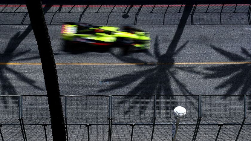 LONG BEACH-CA-APRIL 15, 2018: Palm trees cast shadows on the race course at the 2018 Toyota Grand Pr