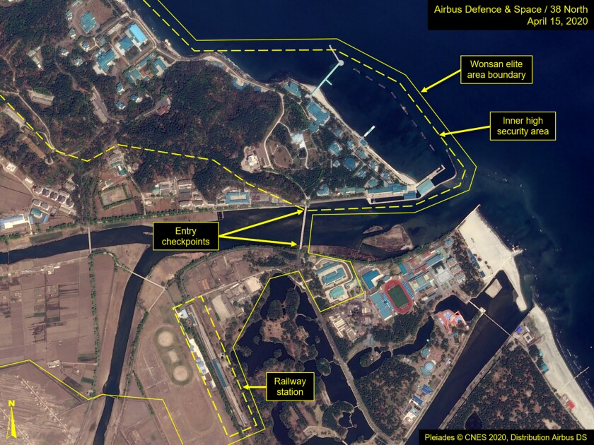 A satellite image provided by Airbus Defence & Space and annotated by 38 North, a website specializing in North Korea studies, shows overview of the Wonsan complex in Wonsan, North Korea.