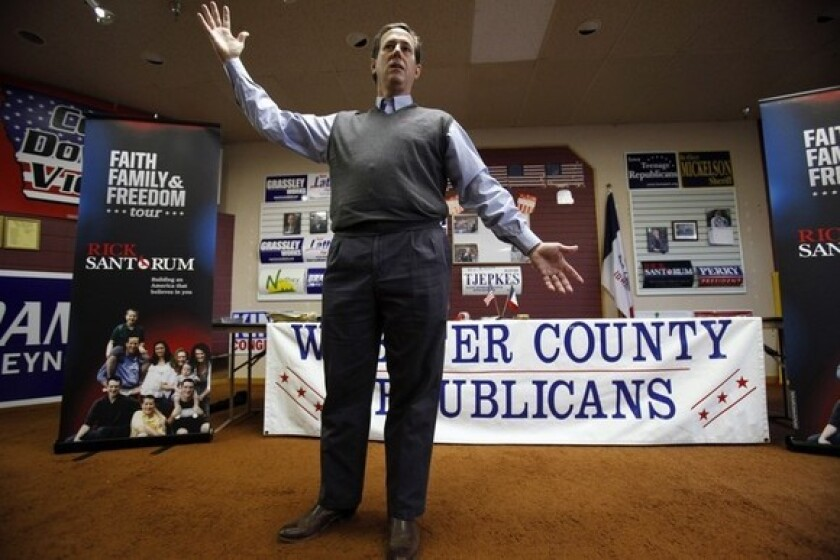 Rick Santorum speaks during a town hall meeting at the Fort Dodge GOP Headquarters in Iowa.