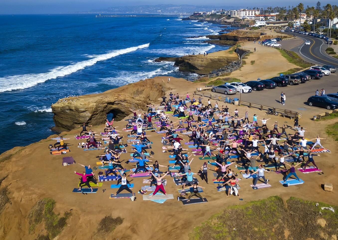 Yoga at Sunset Cliffs Park in Ocean Beach