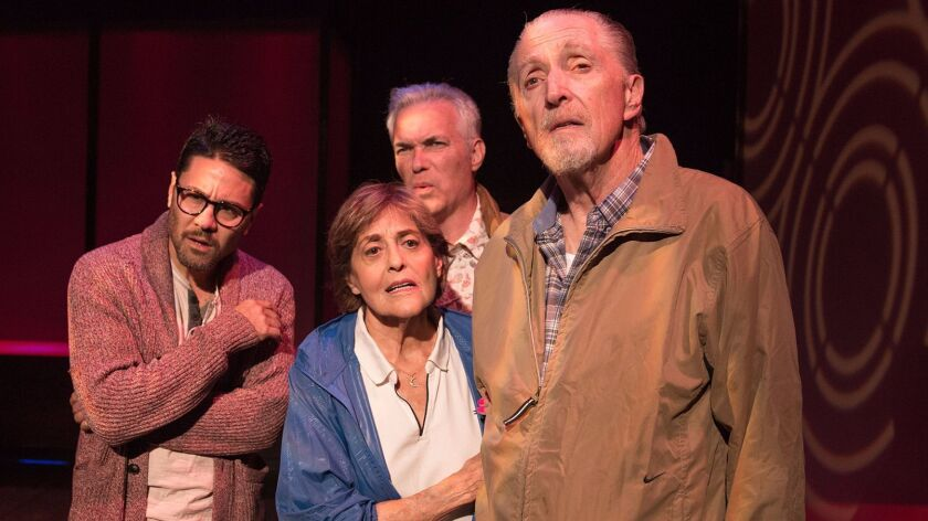 """The """"Walking to Buchenwald"""" male-couple cast with, from left, Justin Huen, Laura James, Christopher"""