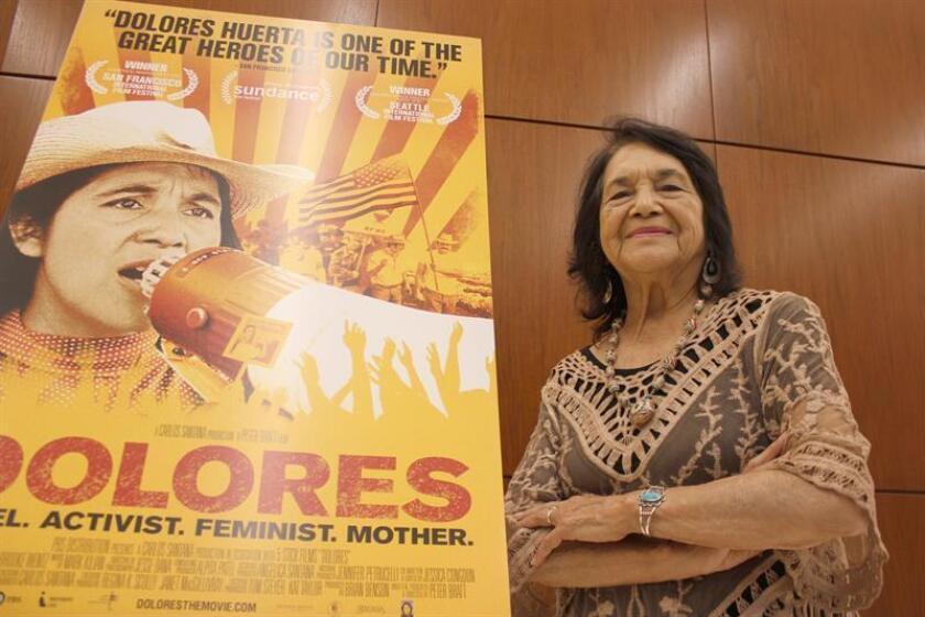 Fotografía fechada el 15 de septiembre de 2017 de la activista estadounidense Dolores Huerta, de 87 años, durante una entrevista con Efe, en Washington, DC (EE.UU.). EFE/Archivo