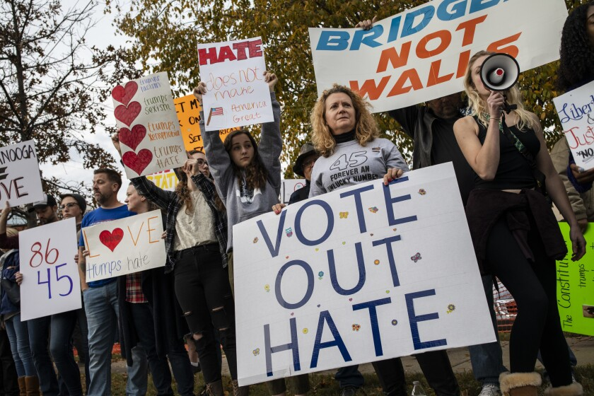 Anti-Trump protestors rally outside of McKenzie Arena, where U.S. President Donald Trump is holding a rally in support of Republican Senate candidate Rep. Marsha Blackburn, November 4, 2018 in Chattanooga, Tennessee.