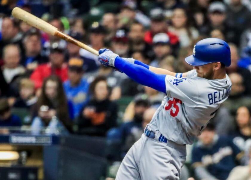En la imagen, el jugador Cody Bellinger de los Dodgers de Los Ángeles. EFE/Tannen Maury/Archivo