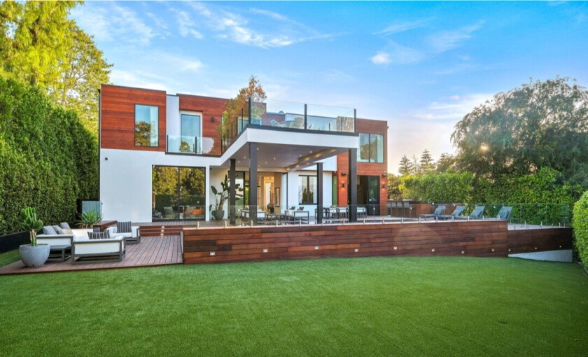 Custom-built in 2017, the boxy abode holds six bedrooms, eight bathrooms and indoor-outdoor spaces across 6,600 square feet.