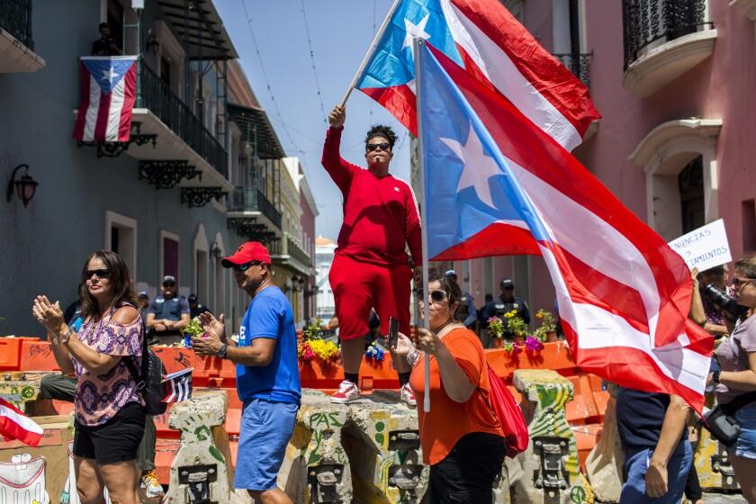 Protesters in San Juan, Puerto Rico