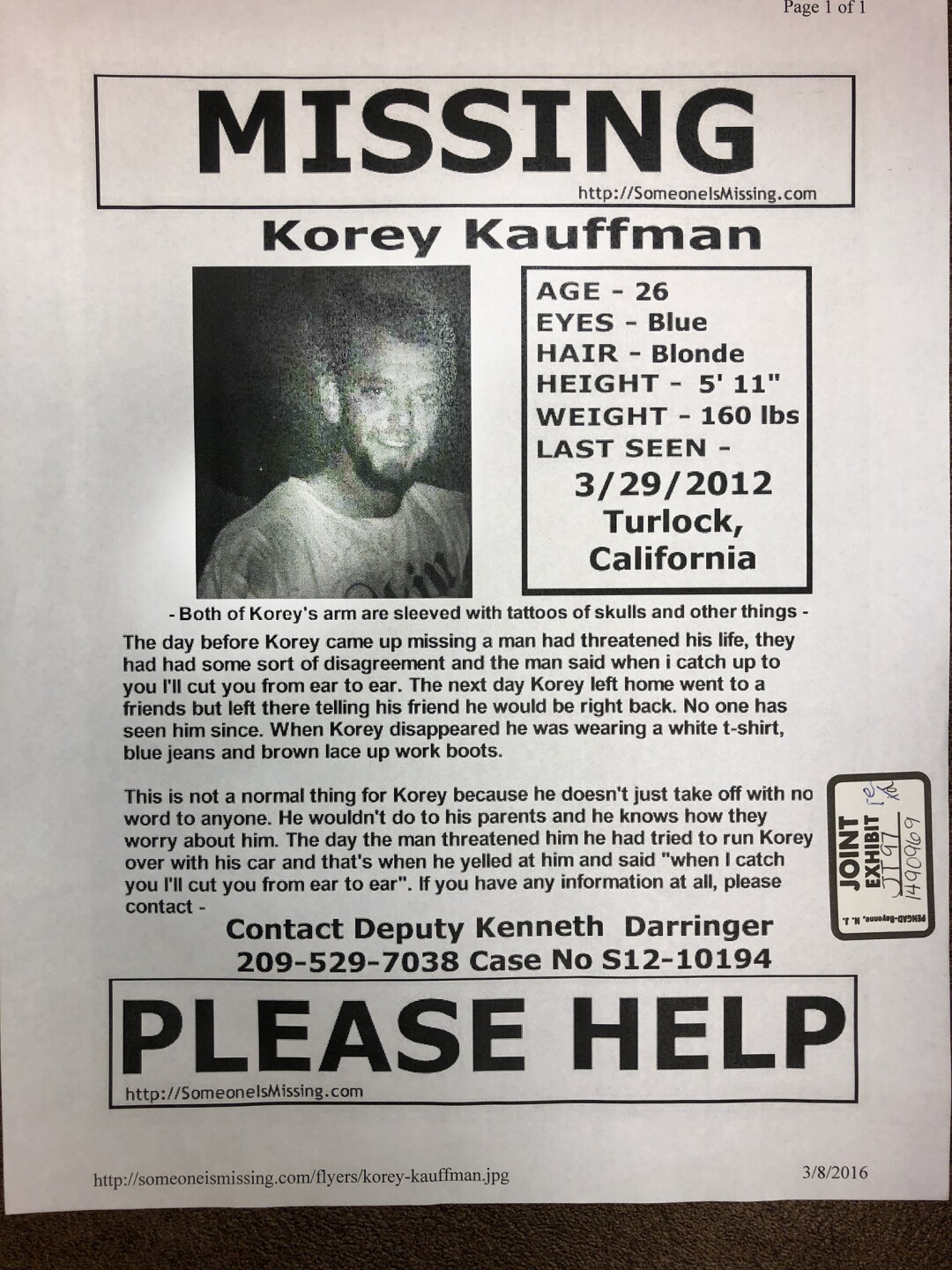 A flier for Korey Kauffman, who went missing in March 2012.