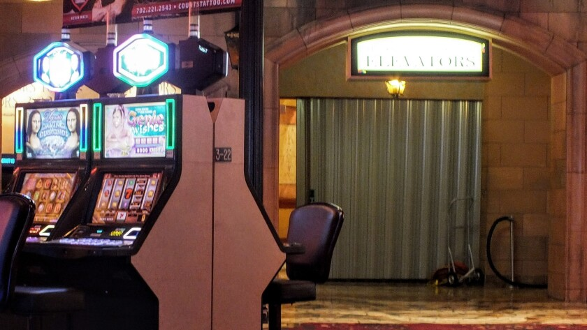 The entrance to the Rio's Masquerade Tower elevators is screened off Friday afternoon as 900 hotel rooms remained dark after a fire and power failure.