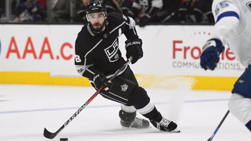 Kings defenseman Drew Doughty advances the puck against the Tampa Bay Lightning during Thursday's home game.