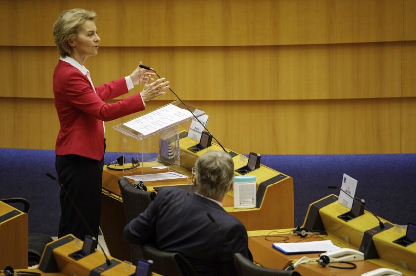 European Commission President Ursula von der Leyen addresses the European Parliament in Brussels on May 27, 2020.