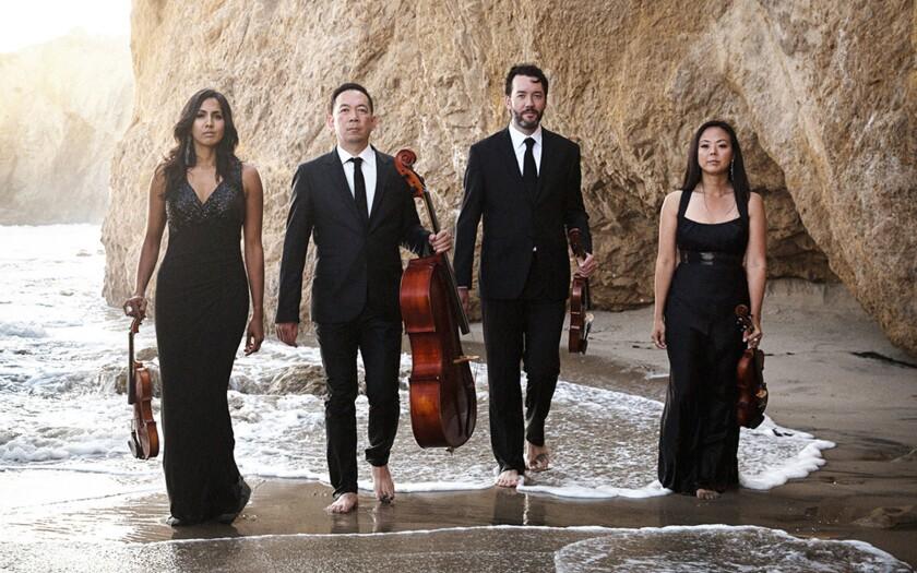 Lyris Quartet: violinist Shalini Vijayan, left, cellist Timothy Loo, violist Luke Maurer and violini
