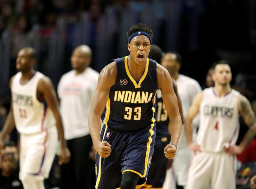 En la imagen, el pívot de los Pacers de Indiana, Myles Turner. EFE/Archivo