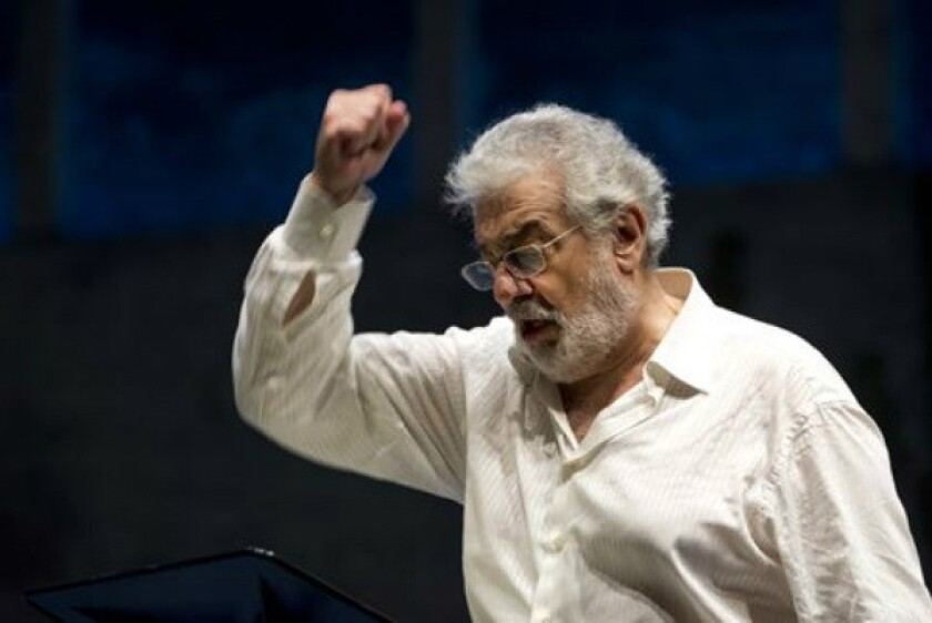 Plácido Domingo during a rehearsal at the Salzburg Festival in Austria this past summer.