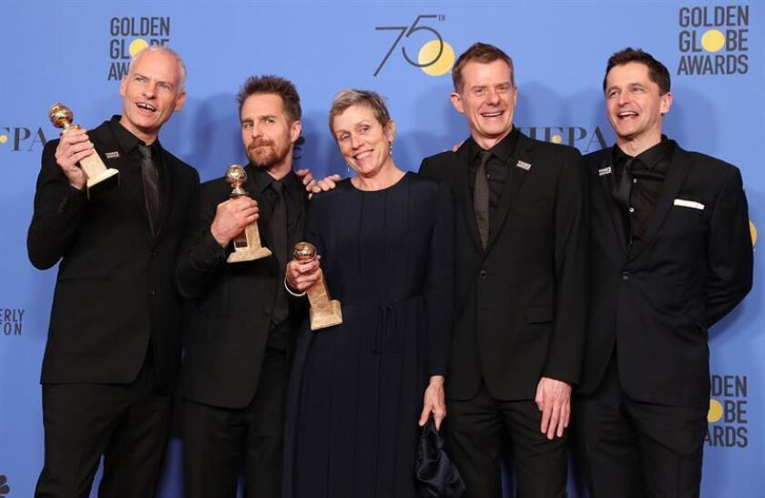 (L-R) Martin McDonagh, Sam Rockwell, Frances McDormand, Graham Broadbent and Peter Czernin pose with the award for Best Motion Picture - Drama for 'Three Billboards Outside Ebbing, Missouri' in the press room during the 75th annual Golden Globe Awards ceremony at the Beverly Hilton Hotel in Beverly Hills. EFE
