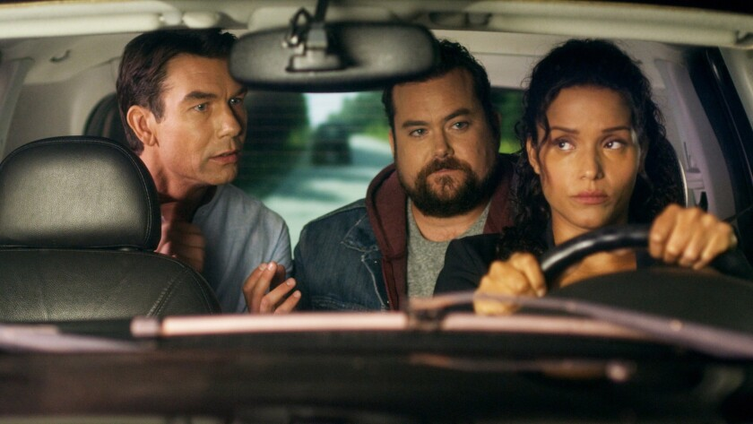 """From left: Jerry O'Connell, Kristian Bruun and Sydney Tamiia Poitier in a scene from WGN's """"Carter."""""""
