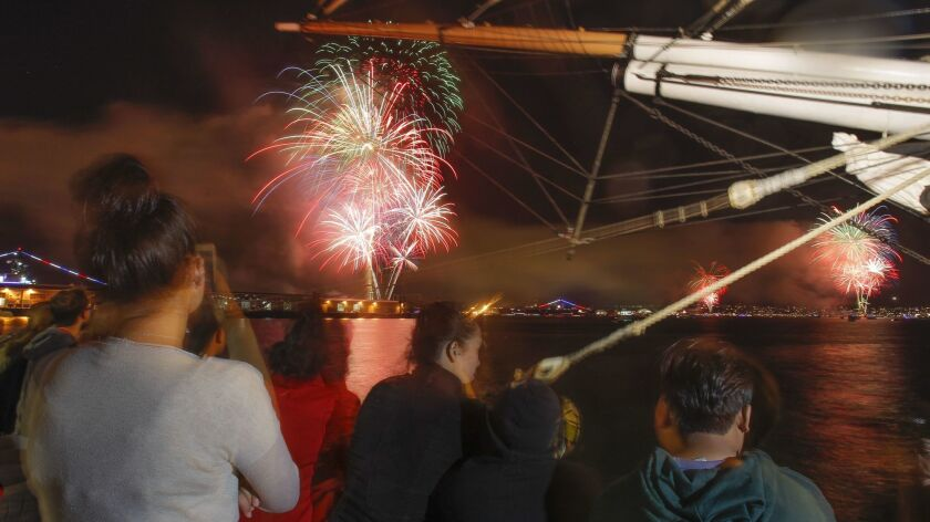 In this 2018 file photo, people sit near the bow of the Star of India as they watch fireworks explode over San Diego Bay during the Big Bay Boom.