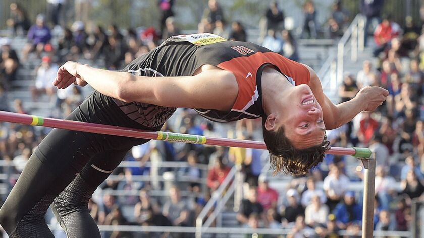 Jack Wiseman of Huntington Beach attempts 6 feet 5 inches as he competes in the high jump during the