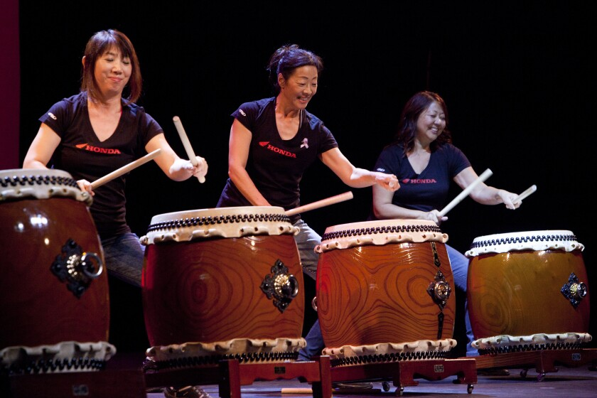 A student recital at the Los Angeles Taiko Institute in Torrance.