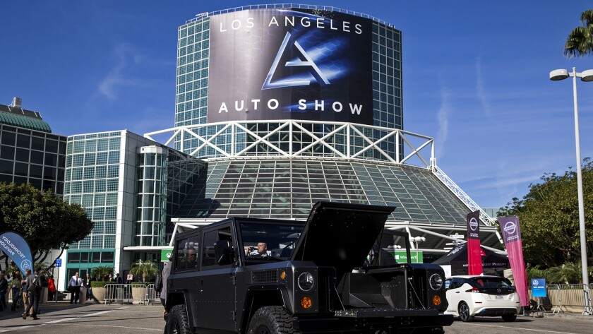 The Bollinger Motors B1, an all-electric utility truck, on display outside the 2017 L.A. Auto Show at the L.A. Convention Center.