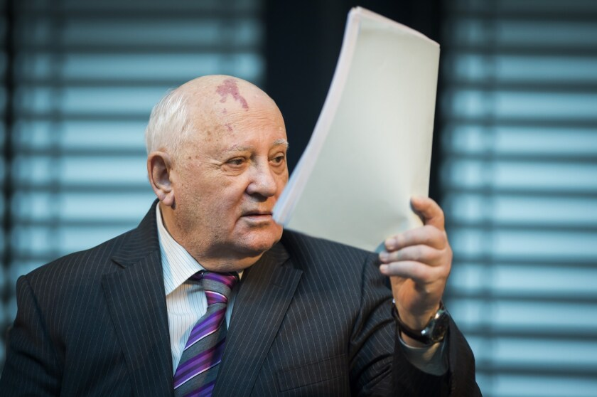 """Former Soviet Union leader Mikhail Gorbachev speaks at a symposium Saturday on security in Europe 25 years after the fall of the """"Wall"""" in Berlin."""
