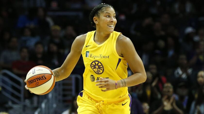 Candace Parker controls the ball during a game against the Washington Mystics on June 18.