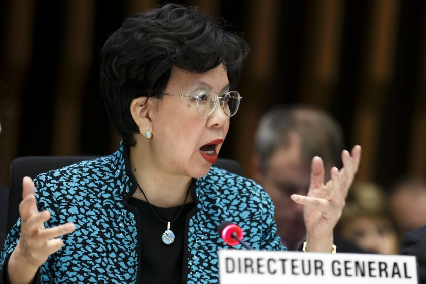 FILE - In this Sunday, Jan. 25, 2015 file photo, China's Margaret Chan, Director General of the World Health Organization, WHO, addresses her statement during the special session on Ebola of the Executive Board, at the headquarters of the WHO in Geneva, Switzerland. An experimental vaccine tested on thousands of people in Guinea exposed to Ebola seems to work and might help shut down the ongoing epidemic in West Africa, according to interim results from a study published Friday, July 31, 2015. (Salvatore Di Nolfi/Keystone via AP, File)