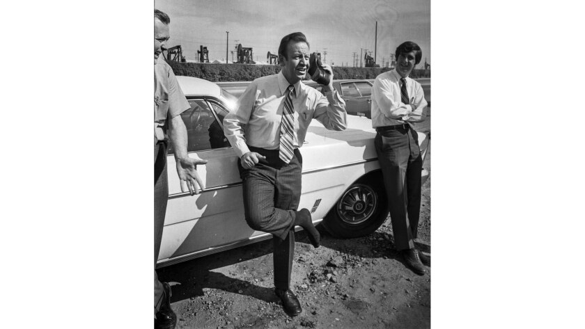 """Oct. 29, 1970: Jess Unruh spoofs the """"Get Smart"""" TV show while campaigning for governor."""