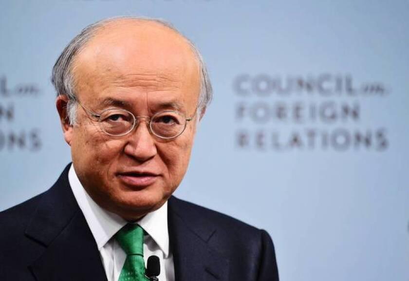 International Atomic Energy Agency chief Yukiya Amano speaks at the Council on Foreign Relations in Washington.