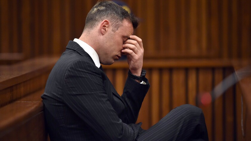 South African paralympian Oscar Pistorius at Pretoria High Court on June 13, 2016, during the sentencing hearing set to send him back to jail for killing his girlfriend three years ago.