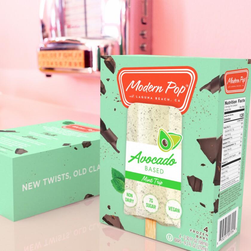 Mint Trip is one of Modern Pop's avocado-based ice cream bar flavors.