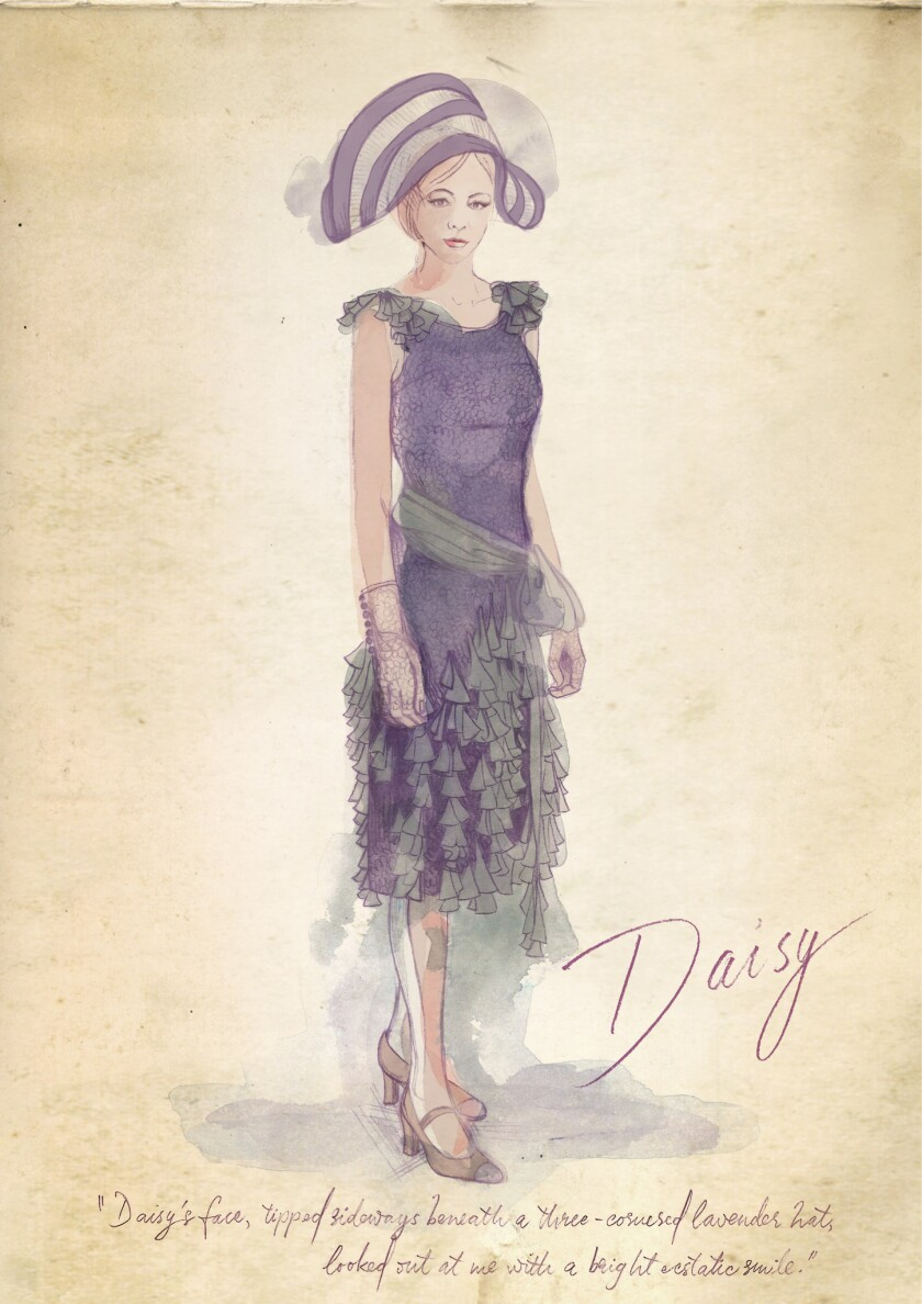 "A sketch by Catherine Martin shows her design for ""The Great Gatsby"" heroine Daisy's lavender hat and dress."