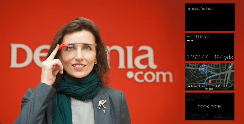 The app developed by Destinia for Google glass (showing display at right) allows users to find and book a hotel.